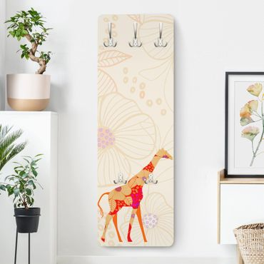 Garderobe - Floral Giraffe - Weiß Orange