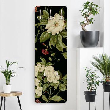 Garderobe - Gartenblumen auf Schwarz I