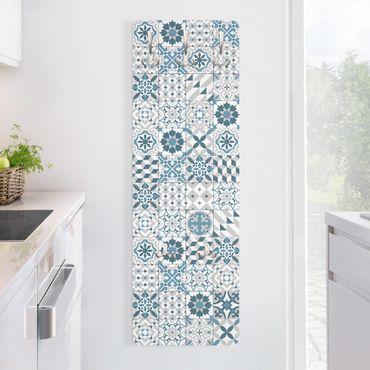 Garderobe - Geometrischer Fliesenmix Blaugrau