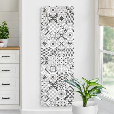 Garderobe - Geometrischer Fliesenmix Grau