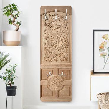 Garderobe - Geschnitzte asiatische Holztür aus Thailand