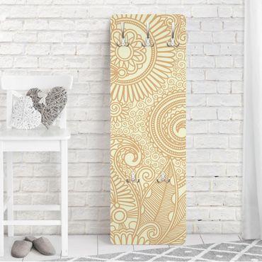 Garderobe Mandala - Goldwiese 139x46x2cm - Blumen Muster Weiß