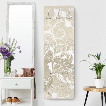Garderobe - Perlmutt Ornament Design - Weiß Beige