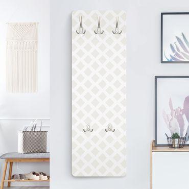 Garderobe - Rautengitter hellbeige - Muster Weiß