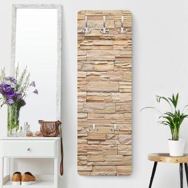 Garderobe - Steinoptik Asian Stonewall - Große helle Steinmauer aus wohnlichen Steinen