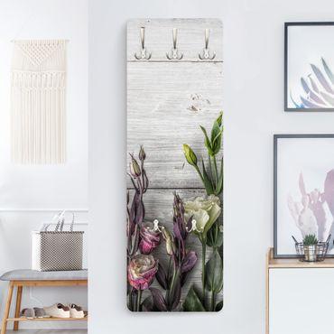Garderobe - Tulpen Rose Shabby Holzoptik