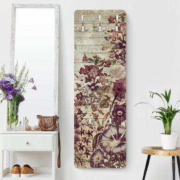 Garderobe - Vintage Blumen Holzoptik II