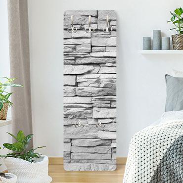 Garderobe Weiß - Steinoptik Ashlar Masonry - Landhaus