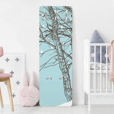 Garderobe - Winterbäume - Blau