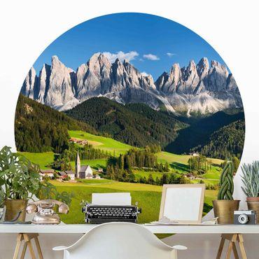 Runde Tapete selbstklebend - Geislerspitzen in Südtirol