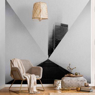 Metallic Tapete  - Geometrische Architekturstudie Schwarz-weiß
