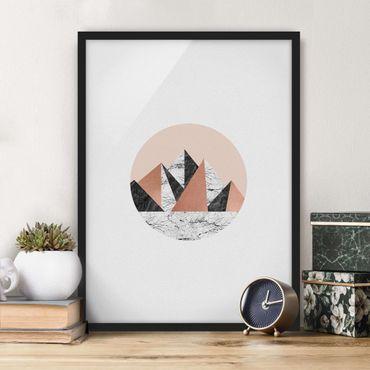 Bild mit Rahmen - Geometrische Landschaft im Kreis - Hochformat