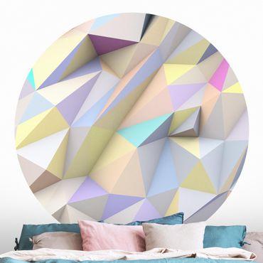 Runde Tapete selbstklebend - Geometrische Pastell Dreiecke in 3D