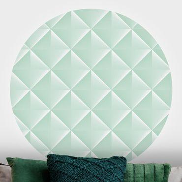 Runde Tapete selbstklebend - Geometrisches 3D Rauten Muster in Mint