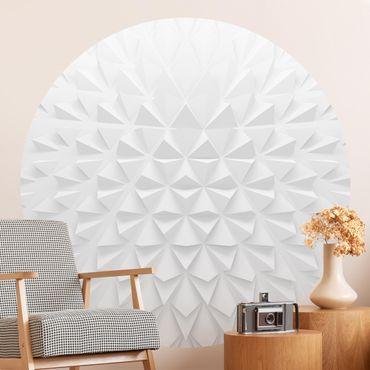 Runde Tapete selbstklebend - Geometrisches Muster 3D Effekt