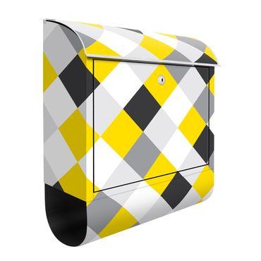 Briefkasten - Geometrisches Muster gedrehtes Schachbrett Gelb