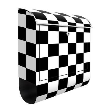 Briefkasten - Geometrisches Muster Schachbrett Schwarz Weiß