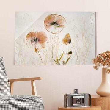 Glasbild - Getrocknete Mohnblüten mit zarten Gräsern - Querformat
