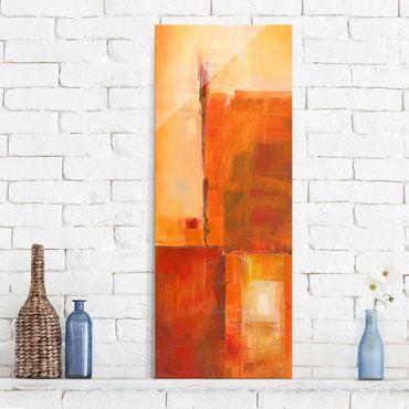 Glasbild - Abstrakt Orange Braun - Panel