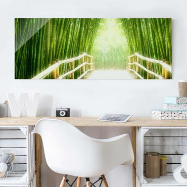 Glasbild - Bamboo Way - Panorama Quer