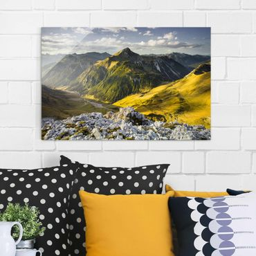 Glasbild - Berge und Tal der Lechtaler Alpen in Tirol - Quadrat 1:1