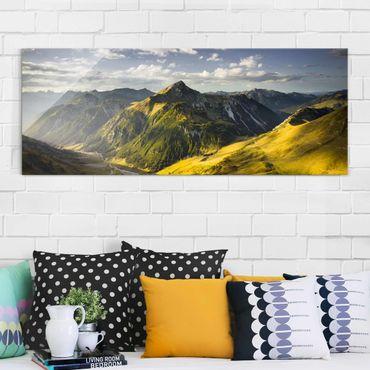 Glasbild - Berge und Tal der Lechtaler Alpen in Tirol - Panorama Quer