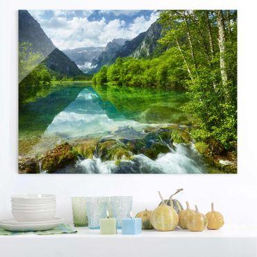 Glasbild - Bergsee mit Spiegelung - Quer 4:3