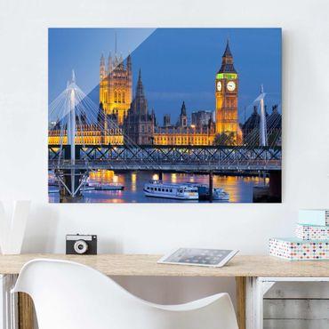 Glasbild - Big Ben und Westminster Palace in London bei Nacht - Quer 4:3