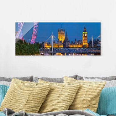 Glasbild - Big Ben und Westminster Palace in London bei Nacht - Panorama Quer