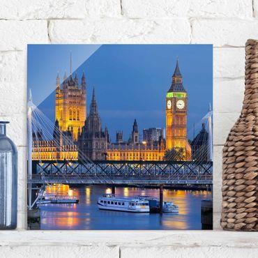 Glasbild - Big Ben und Westminster Palace in London bei Nacht - Quadrat 1:1