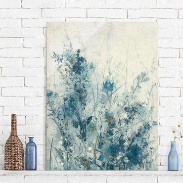 Glasbild - Blaue Frühlingswiese I - Hochformat 4:3