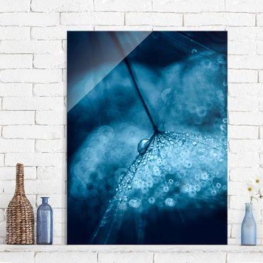 Glasbild - Blaue Pusteblume im Regen - Hochformat 4:3