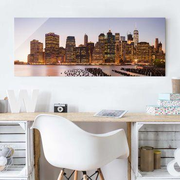 Glasbild - Blick auf Manhattan Skyline - Panorama
