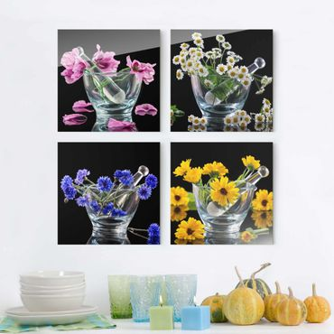 Glasbild - Blumen im Mörser 4-teilig