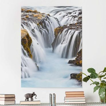 Glasbild - Brúarfoss Wasserfall in Island - Hoch 3:4