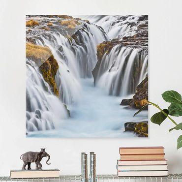 Glasbild Wasserfall - Brúarfoss Wasserfall in Island - Wasserfallbild Quadrat 1:1