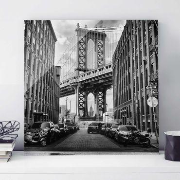 Glasbild - Manhattan Bridge in America - Quadrat 1:1