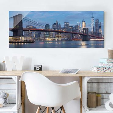 Glasbild - Brooklyn Bridge Manhattan New York - Panorama