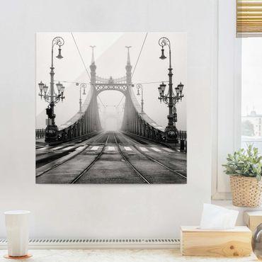 Glasbild - Brücke in Budapest - Quadrat 1:1