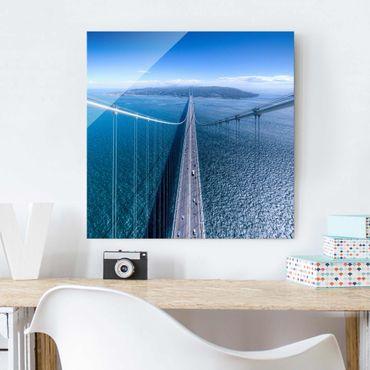 Glasbild - Brücke zur Insel - Quadrat 1:1