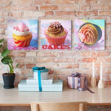 Glasbild - Bunte Cupcakes 3-teilig