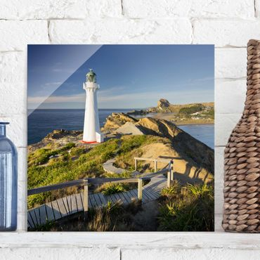 Glasbild - Castle Point Leuchtturm Neuseeland - Quadrat 1:1