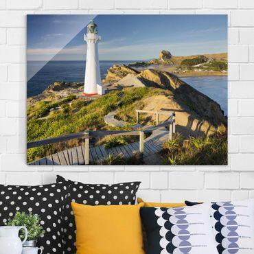 Glasbild - Castle Point Leuchtturm Neuseeland - Querformat 3:4