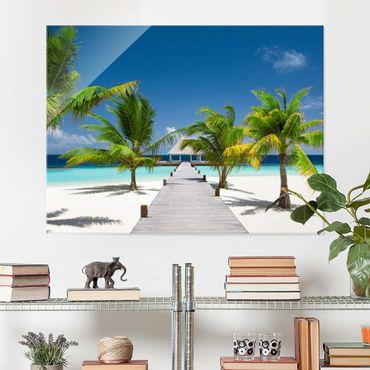 Glasbild Karibik - Catwalk to Paradise - Strandbild Quer 4:3