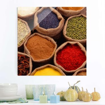Glasbild Küche - Colourful Spices - Quadrat 1:1