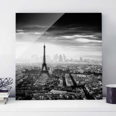Glasbild - Der Eiffelturm von Oben Schwarz-weiß - Quadrat 1:1