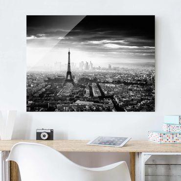 Glasbild - Der Eiffelturm von Oben Schwarz-weiß - Querformat 3:4