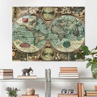 Glasbild Weltkarte - Die alte Welt - Quer 4:3