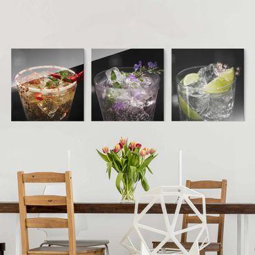 Glasbild - Drinks mit Eiswürfel Nahaufnahme 3-teilig