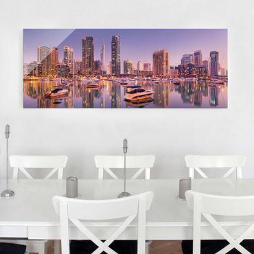 Glasbild - Dubai Skyline und Marina - Panorama Quer